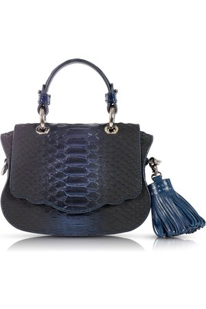 THALÈ BLANC Audrey Micro: Midnight Snakeskin Embossed Designer Crossbody Bag