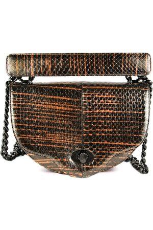 THALÈ BLANC Crescent Crossbody: Designer Crossbody Chain Handbag in Snakeskin