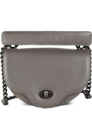 THALÈ BLANC Crescent Crossbody: Designer Crossbody Chain Handbag In Grey