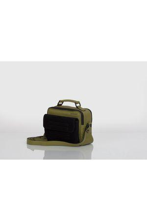 Hackney olive green leather and black suede shoulder bag