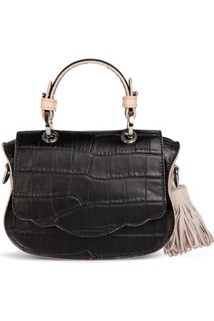 THALÈ BLANC Audrey Micro: & Taupe Croc-Embossed Designer Crossbody Bag
