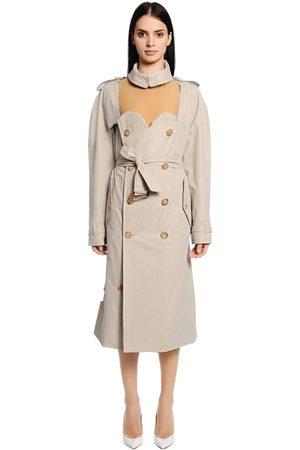 Maison Margiela Women Trench Coats - Cutout Cotton Gabardine Trench Coat