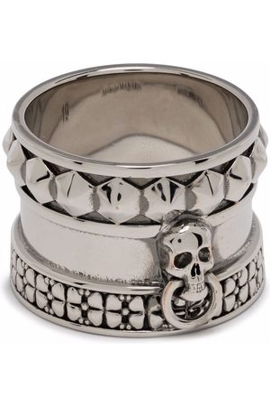 Alexander McQueen Men Rings - Skull-engraved thick ring