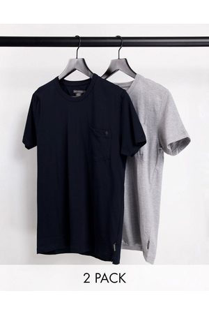 French Connection 2 pack pocket t-shirts in navy and light grey