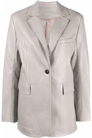 12 STOREEZ Matte faux-leather oversized blazer