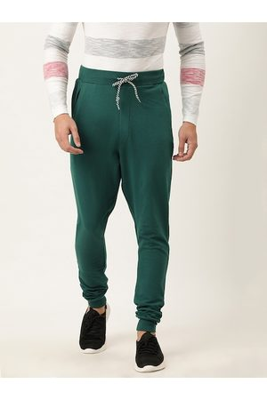 Difference of Opinion Men Green Solid Slim Fit Joggers