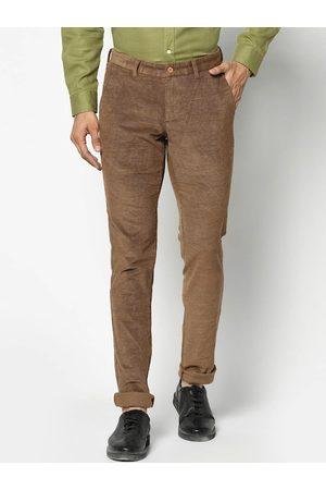 Blackberrys Men Khaki Slim Fit Self Design Regular Trousers