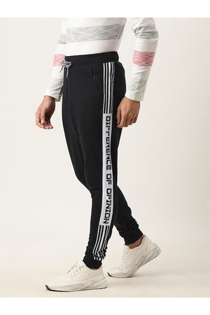 Difference of Opinion Men Black Solid Slim Fit Joggers With Printed Side Stripes