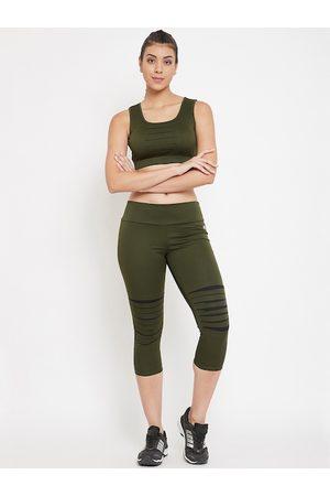 Clovia Women Olive Green Solid Activewear Tracksuit