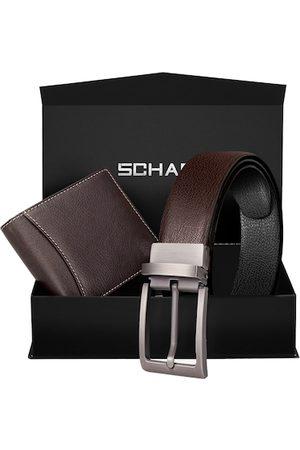 Scharf Men Brown & Black Leather Accessory Gift Set
