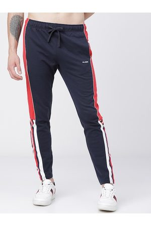 Highlander Men Navy Blue & Red Colourblocked Slim-Fit Track Pants
