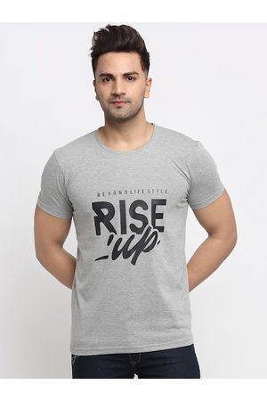 VIMAL JONNEY Men Grey Melange Printed Round Neck T-shirt