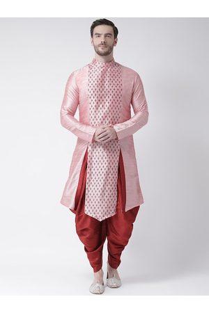 DEYANN Men Pink Ethnic Motifs Woven Design Dupion silk Kurta