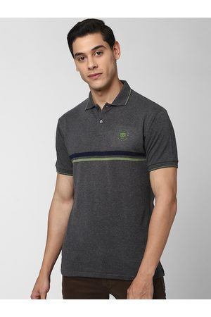 Peter England Casuals Men Charcoal Grey Solid Polo Collar T-shirt