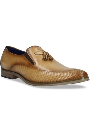Bugatti Men Tan Brown Textured Leather Formal Loafers