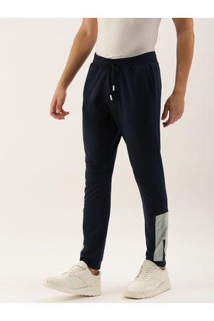 SINGLE Men Navy Blue Solid Slim Fit Joggers