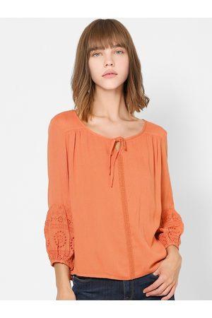 ONLY Orange Tie-up Neck Puff Sleeves Regular Top