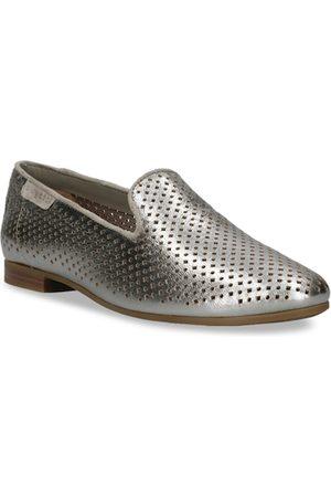 Bugatti Women Silver-Toned Solid Leather Ballerinas