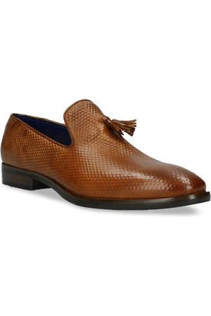 Bugatti Men Loafers - Men Brown Textured Leather Formal Loafers