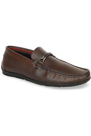 Bata Men Brown Textured PU Loafers