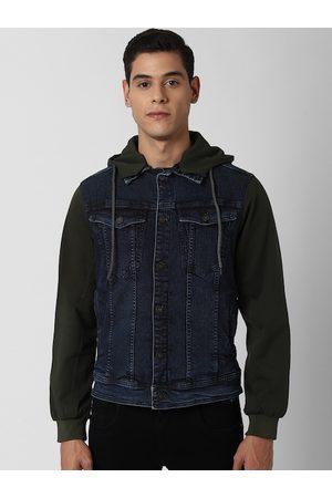 Peter England Men Navy Blue Solid Denim Jacket