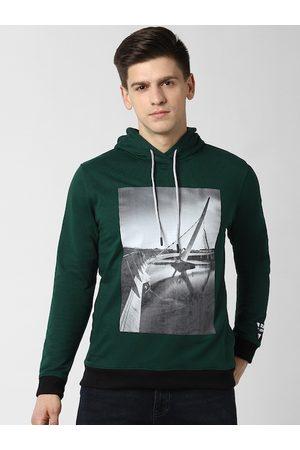 Peter England Men Green Printed Sweatshirt