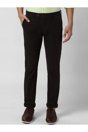 Peter England Men Black Slim Fit Solid Regular Trousers