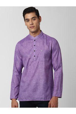 Peter England Men Purple Mandarin Collar Kurta