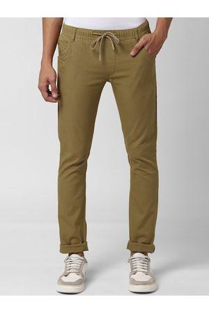 Peter England Men Khaki Skinny Fit Solid Regular Trousers