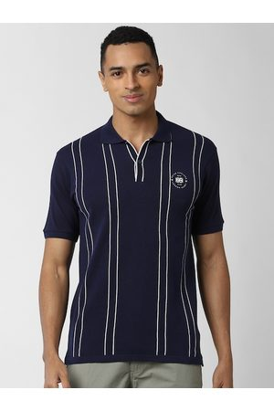 Peter England Men Navy Blue & White Striped Polo Collar T-shirt
