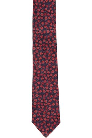 Louis Philippe Men Navy Blue & Red Textured Printed Accessory Gift Set