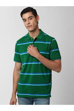 Peter England Men Green & Blue Striped Polo Collar T-shirt