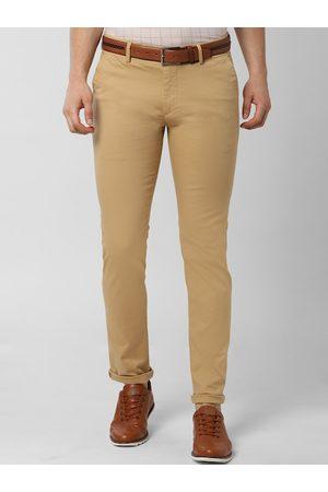 Peter England Men Khaki Slim Fit Solid Regular Trousers