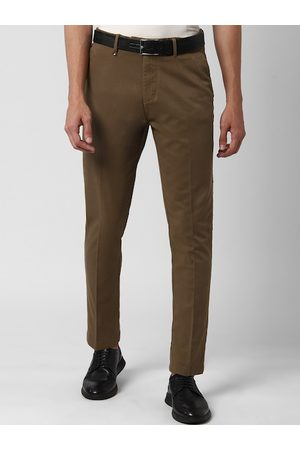 Peter England Men Olive Brown Slim Fit Solid Regular Trousers