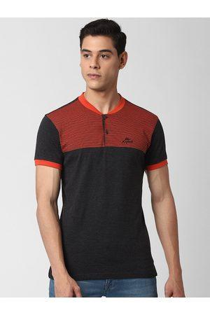 Peter England Men Charcoal Grey Colourblocked Henley Neck T-shirt