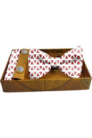Blacksmith Men Red & White Printed 100% Satin Accessory Gift Set