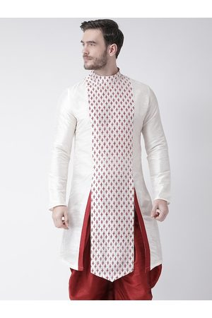 DEYANN Men Off White & Maroon Geometric Printed Kurta