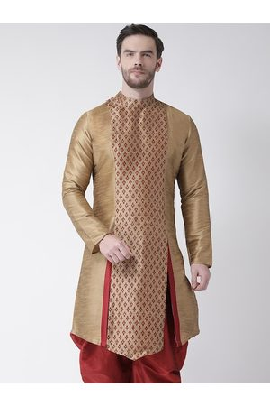 DEYANN Men Brown & Maroon Ethnic Motifs Printed Thread Work Kurta
