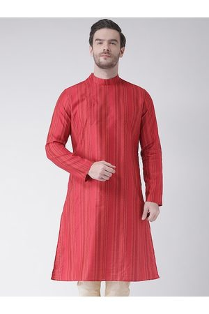 DEYANN Men Red Jacquard Self Design Kurta