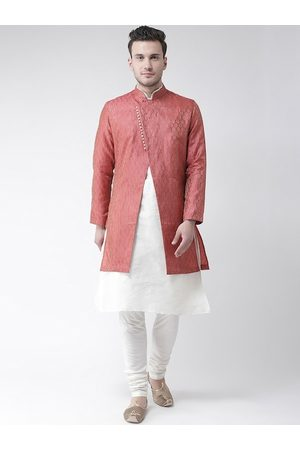 DEYANN Men Red & White Woven-Design Jacquard & Dupion Silk Sherwani Set
