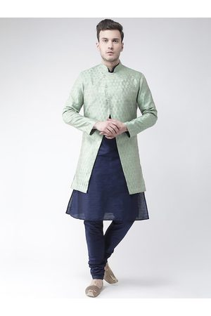 DEYANN Men Navy-Blue & Green Woven-Design Jacquard & Dupion Silk Sherwani Set