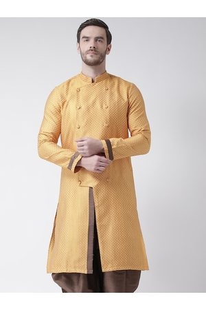 DEYANN Men Yellow Geometric Jacquard Kurta