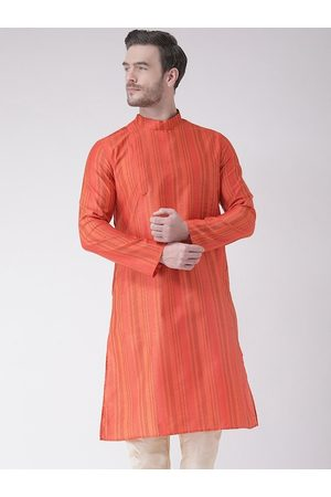 DEYANN Men Orange Striped Kurta