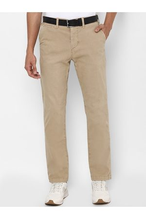 AMERICAN EAGLE OUTFITTERS Men Beige Slim Straight Fit Solid Chinos