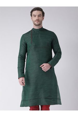 DEYANN Men Green Solid Kurta