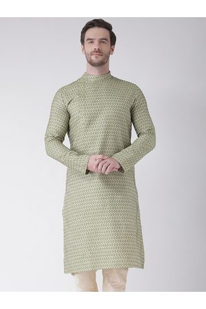 DEYANN Men Green & Off White Ethnic Motifs Kurta