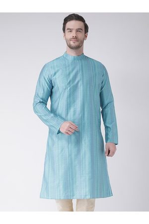 DEYANN Men Blue Striped Kurta