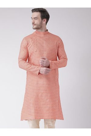 DEYANN Men Orange Woven Design Kurta