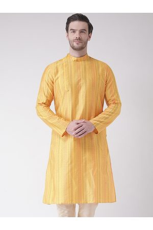 DEYANN Men Yellow Striped Jacquard Kurta