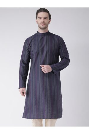 DEYANN Men Navy Blue Striped Kurta